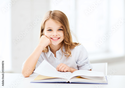 little student girl studying at school