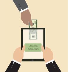 Online banking concept : Send money via smart phone