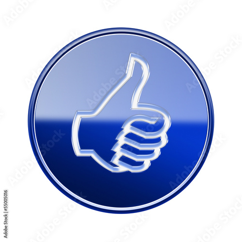 thumb up icon glossy blue, isolated on white background.