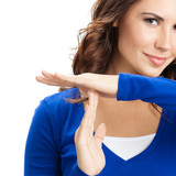 Woman showing heart symbol gesture