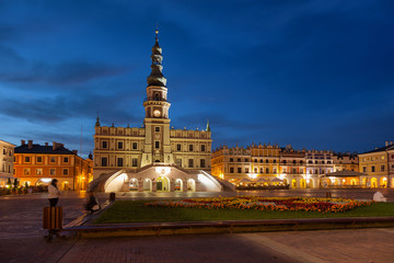 Night panorama of the Main Square in Zamosc, Poland.