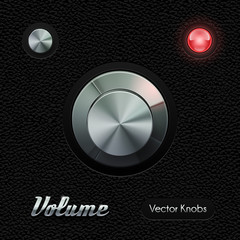 Hi-End UI Analog Volume Knob Chrome On Leather Background