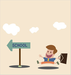 Vector cartoon of Student go to school