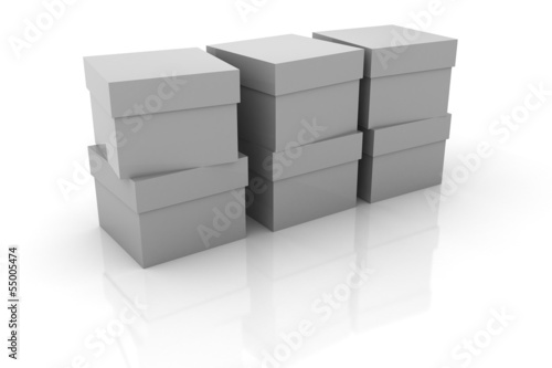 Some gray boxes isolated on white background.