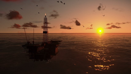 Oil Rig in ocean at sunset, panning