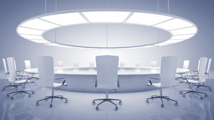 Modern oval conference room