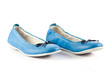 blue dress shoes.  children's shoes isolated on a white backgrou
