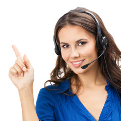 Support phone operator showing, isolated