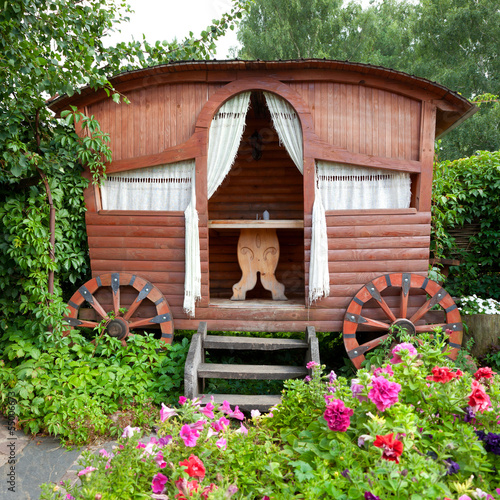 wooden Gazebo in garden