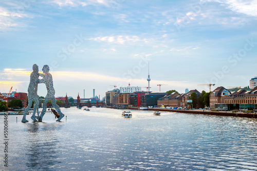 canvas print picture Berlin, germany, Molecule men with Tv tower in Berlin