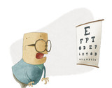 Man trying to see letters on a eyesight test chart