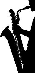 silhouette di un musicista che suona sassofono,