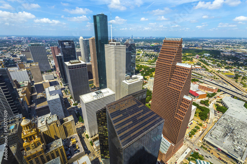 In de dag Texas aerial of modern buildings in downtown Houston