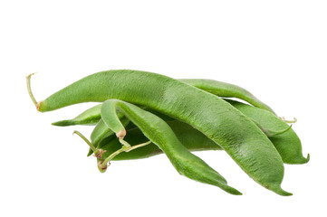 green beans pod on white background