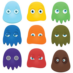 Set of funny cartoon monsters isolated on white