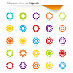 Collection of vector inforgaphic cogwheels
