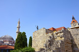 Rhodes Landmarks Suleiman Mosque and Clock Tower. Greece.