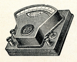 Exterior of moving-coil ammeter and voltmeter (ca. 1920)