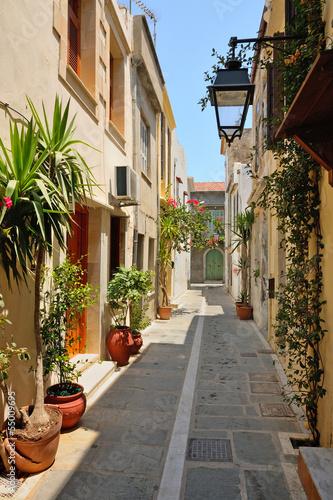 Narrow street in city of Rethymno, Crete, Greece - 55009695