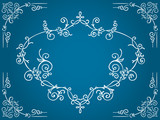 Ornate blue cartouche with filigree frame poster