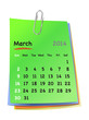 Calendar for march 2014 on colorful sticky notes attached with m