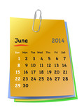 Calendar for june 2014 on colorful sticky notes attached with me