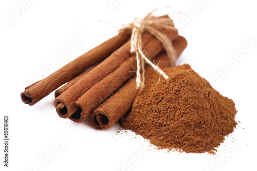 cinnamon sticks on white