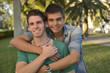 Happy gay couple outdoors