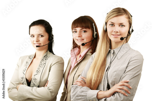 Friendly customer service consultants working