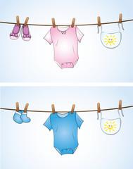 Babysachen auf der Wäscheleine
