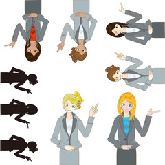 pointing business women 案内する会社員