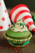 Green birthday cupcake