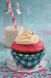 Pink cupcake and milk