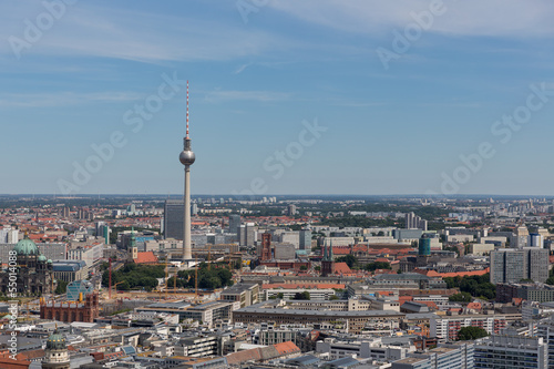 Aerial cityscape with television tower of Berlin, Germany