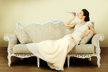 Vintage style, fashion woman on luxury background