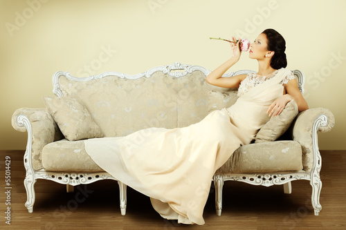 Vintage style, fashion woman on luxury background