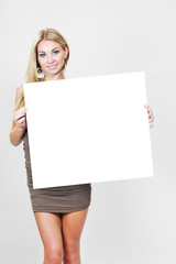girl hold white blank paper card