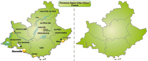 Inselkarte von Provence-Alpes-Côte d´Azur mit Grenzen in Grün