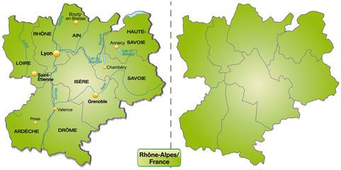 Inselkarte von Rhrône-Alpes mit Grenzen in Grün