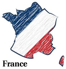 Scribble von Frankreich in Nationalfarben