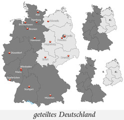 Landkarte vom geteilten Deutschland in grau