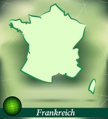Inselkarte von Frankreich als abstrakte Darstellung in Grün