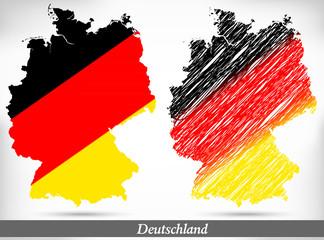 Inselkarte von Deutschland als Übersichtskarte und als Scribble