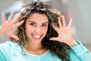 Happy woman having fun