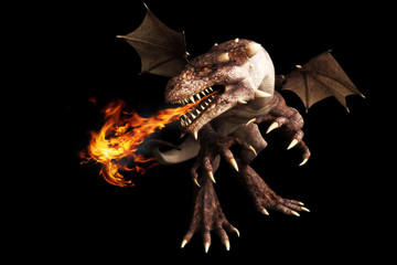 Fire breathing dragon on a black background