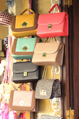 leather bags in shop