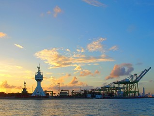 View of Kaohsiung Harbor Entrance after Sunset