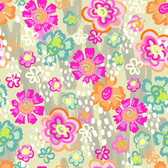 painted neon floral background