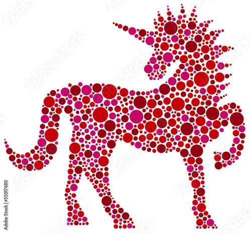 Unicorn Pink Polka Dots illustration