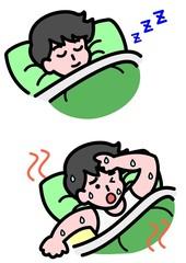 暑くて寝られない男性